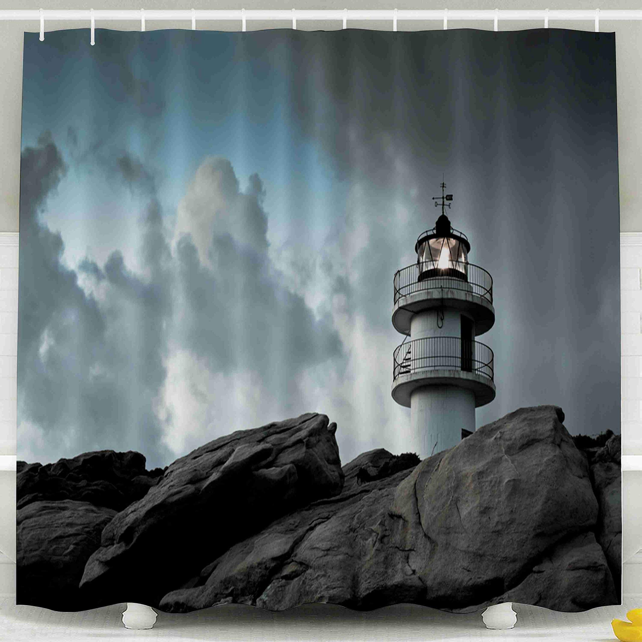 Jacrane Waterproof Fabric Bathroom Clear Shower Curtains Liner with Hooks Working Lighthouse Northern Spain in Bad Weather Horizontal Shot 72X72Inch,Pink Green