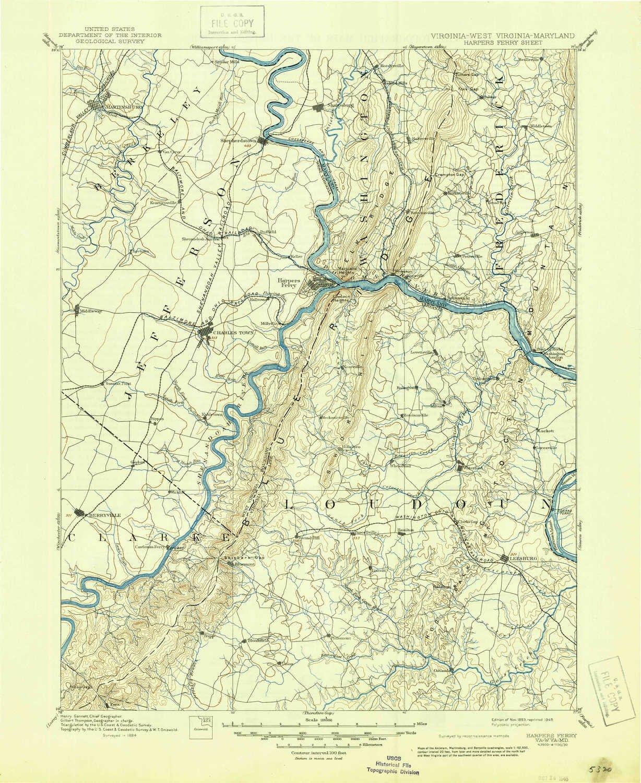 Amazon Com Yellowmaps Harpers Ferry Va Topo Map 1 125000 Scale 30