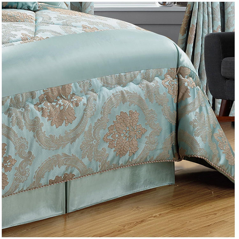 Polyester Parure de lit luxueuse en tissu jacquard violet /Édredon couvre-lit moderne matelass/é Lot de 7/pi/èces/ Double