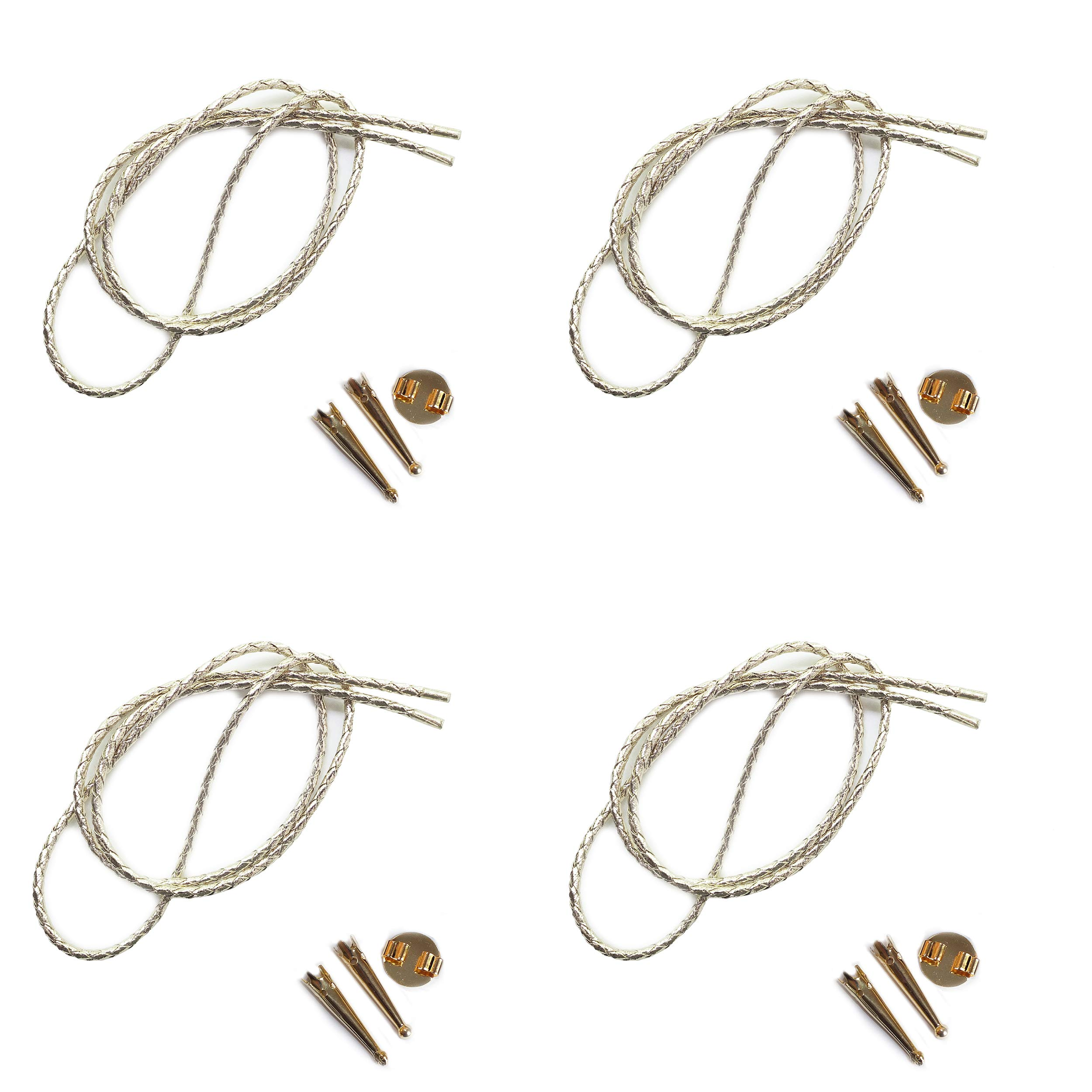Blank Bolo String Tie Parts Kit Round Slide Smooth Tips Silver Vinyl Braid DIY Gold Tone Supplies for 4 Ties