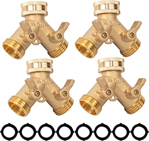 Xiny Tool Brass Garden Hose Splitter (2 Way), Solid Brass Hose Y Splitter 2 Valves with 2 Extra Rubber Washers (4)