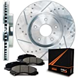 Max KT072112 Rear Silver Slotted & Cross Drilled Rotors and Ceramic Pads Combo Brake Kit