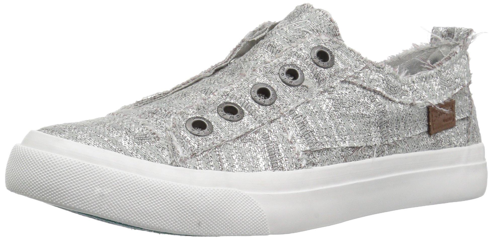 Blowfish Women's Play Sneaker, Silver Glam Weave, 6.5 M US