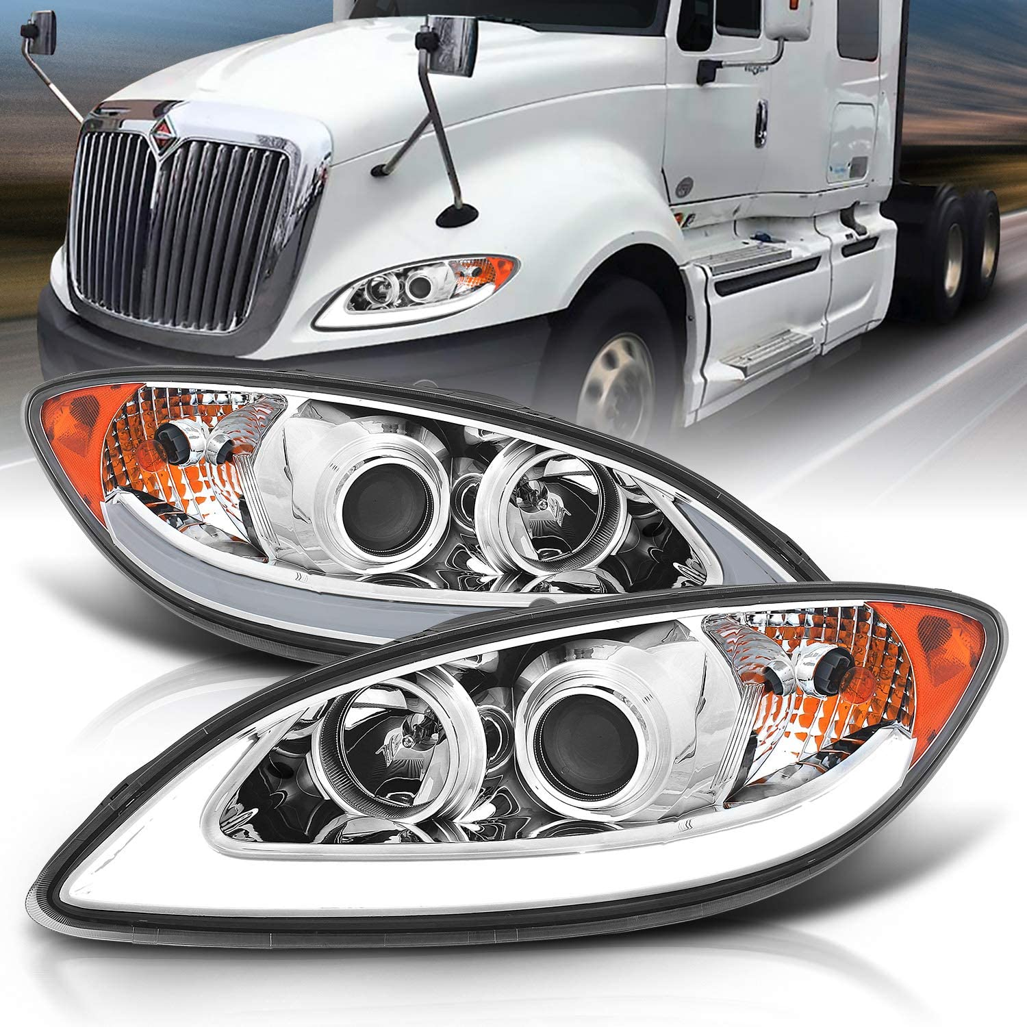Headlight Lamp Assembly LH RH Kit Pair for International ProStar HD Truck