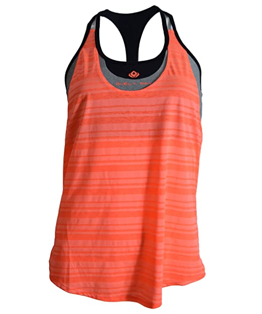 6ef4c0a886a0f Guely Ray Sports Bra Tank Top 2 in 1 with Scoop Neck Striped Outer Layer  Open