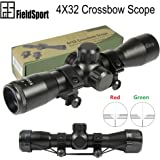 PROSUPPLIES -- Field Sport 4X32 Crossbow Compact Multi Range Reticle Scope Red Green With Rings Lens Covers