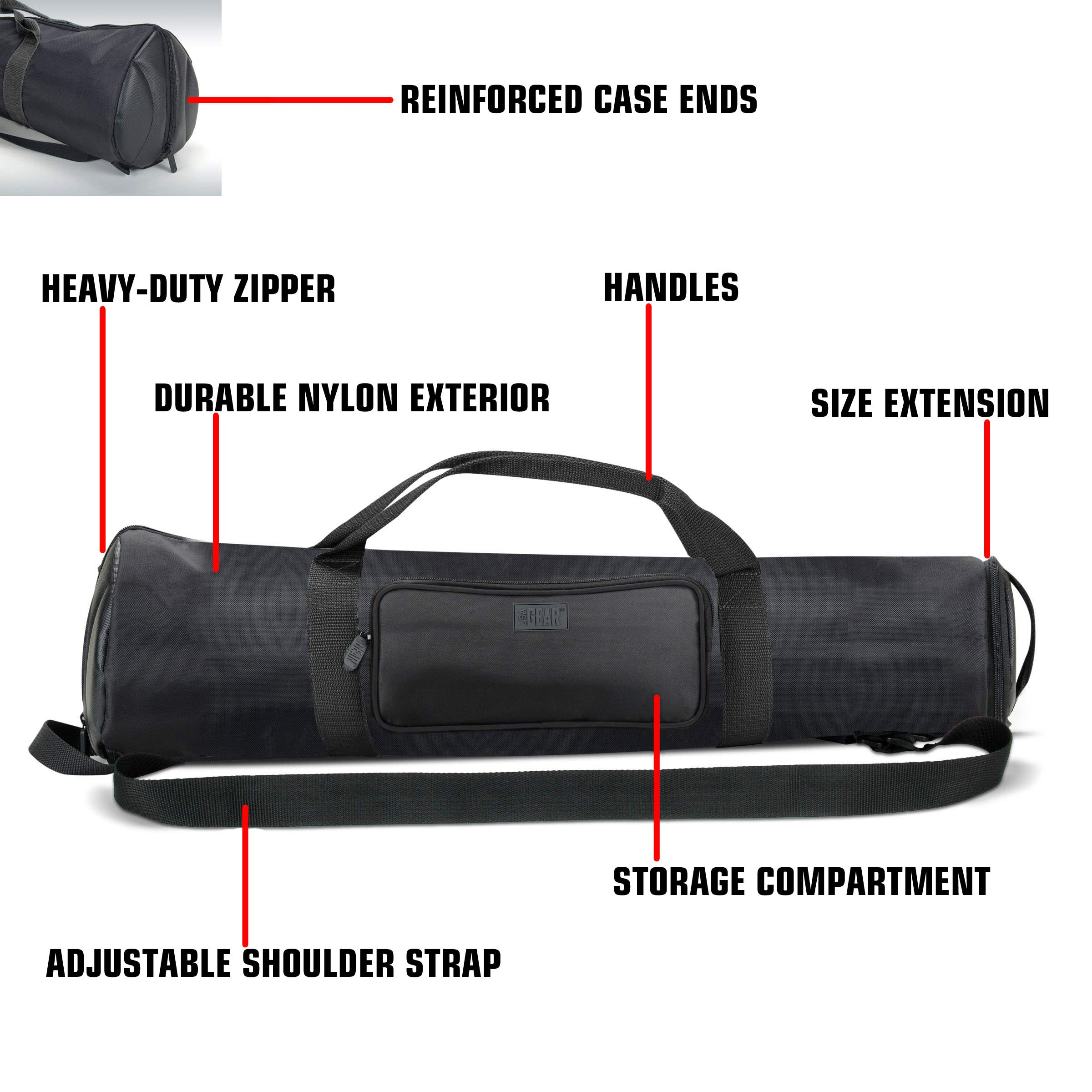 USA Gear Padded Tripod Case Bag - Holds Tripods from 21'' to 35'' Folded with Shoulder Strap, Adjustable Size Extension and Storage Pocket for Professional Camera Accessories and Photo Carrying Needs by USA Gear (Image #5)