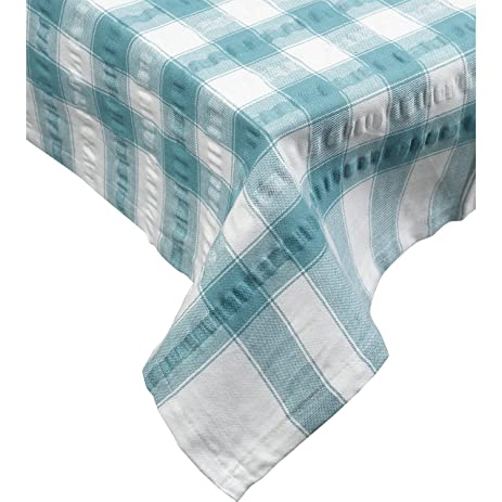 Seersucker Square Checked Tablecloth Cotton Check Downview Table Linen 36u201d  X 36u201d (Teal