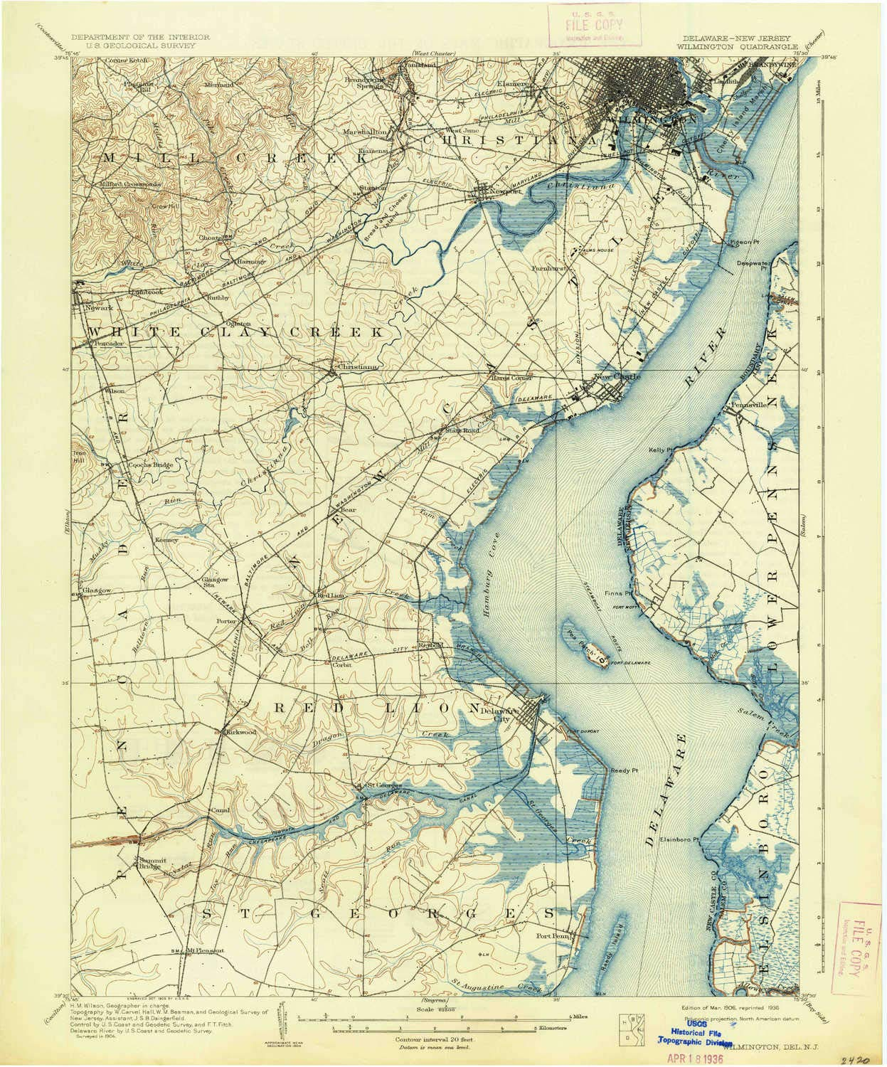 YellowMaps Wilmington DE topo map, 1:62500 Scale, 15 X 15 Minute, Historical, 1906, Updated 1936, 19.9 x 16.5 in - Polypropylene by YellowMaps