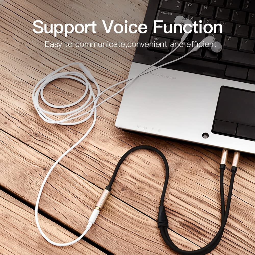 Vention Headphone Splitter Cable 3.5mm Female to 2 Dual 3.5mm Male Compatible Computer,Headphone Mic Audio Y Stereo Jack Cable Gaming Headset to PC Adapter 1Ft//30cm