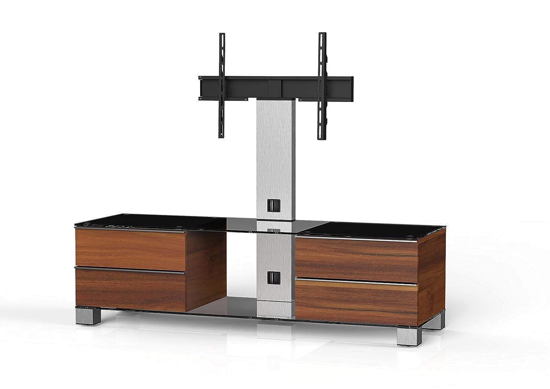 Sonorous MD 8540-C-INX-APL Fernseher-Möbel mit Klarglas (Aluminium Inox, Korpus Holzdekor) apfel