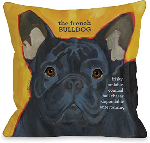 One Bella Casa French Bulldog 3 Throw Pillow, 18 by 18-Inch