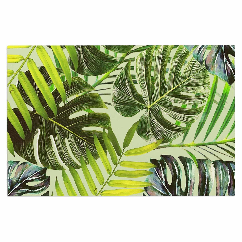 Kess InHouse Alison Coxon Jungle Green Yellow Decorative Door 2 x 3 Floor Mat