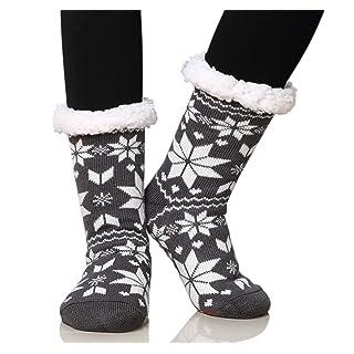 Dosoni Women's Fleece Lining Fuzzy Soft Christmas Knee Highs Stockings Slipper Socks (Snowflake Black)