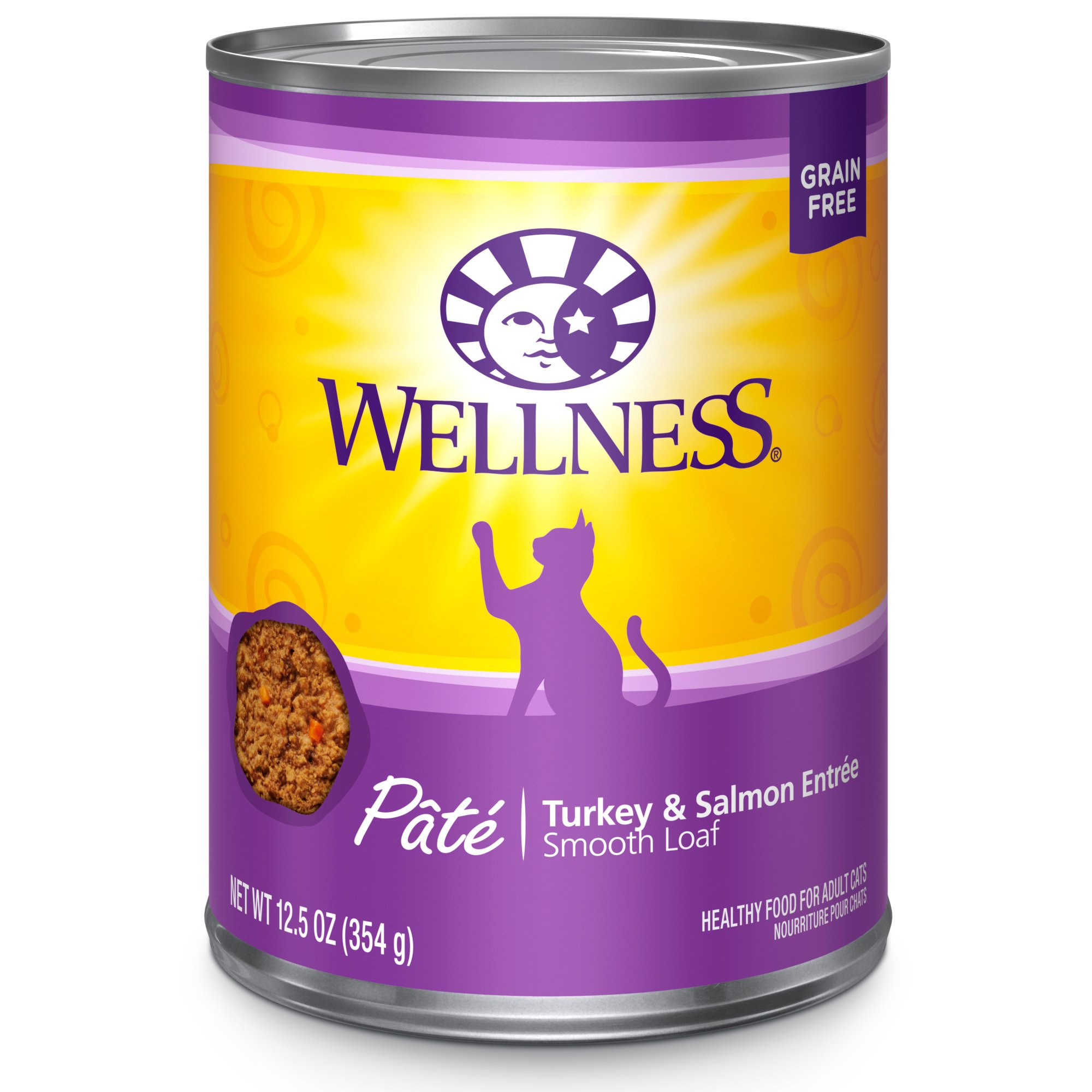 Wellness Natural Grain Free Wet Canned Cat Food, Turkey & Salmon Pate, 12.5-Ounce Can (Pack Of 12) by Wellness Natural Pet Food