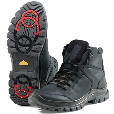 Men's Winter Ankle Boots 14507 - Leather Snow Shoes With Fully Fur Lined - Abrasion Resistant - Waterproof - Non-Slip OC System Sole - Safety Ice Outdoor Footwear Warm and Comfortable - High Top