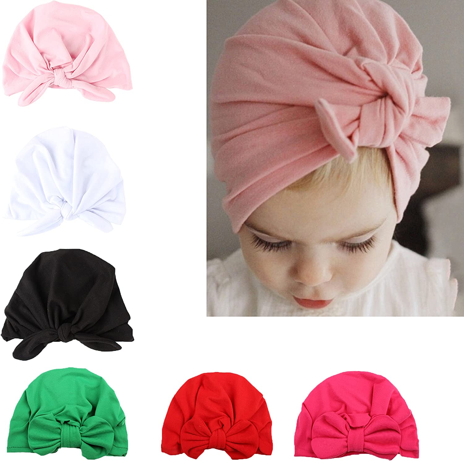 Velvet Baby Girls Boys Bow Turban Hat Toddler Kids Head Wrap Headband Caps UK #$