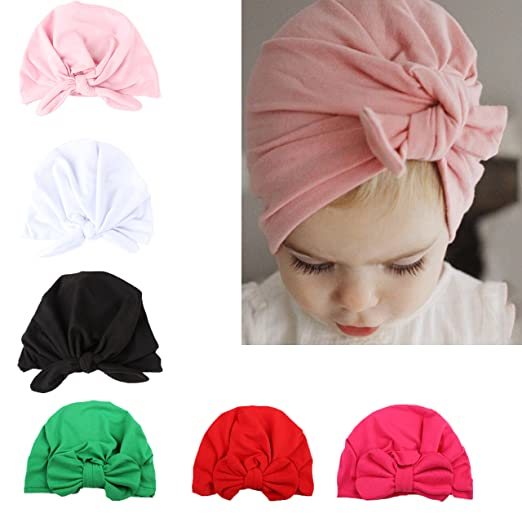 eba6e47e5 Amazon.com: 6Pcs Baby Girl Knot Headbands Elastic Sretch Head Wrap ...