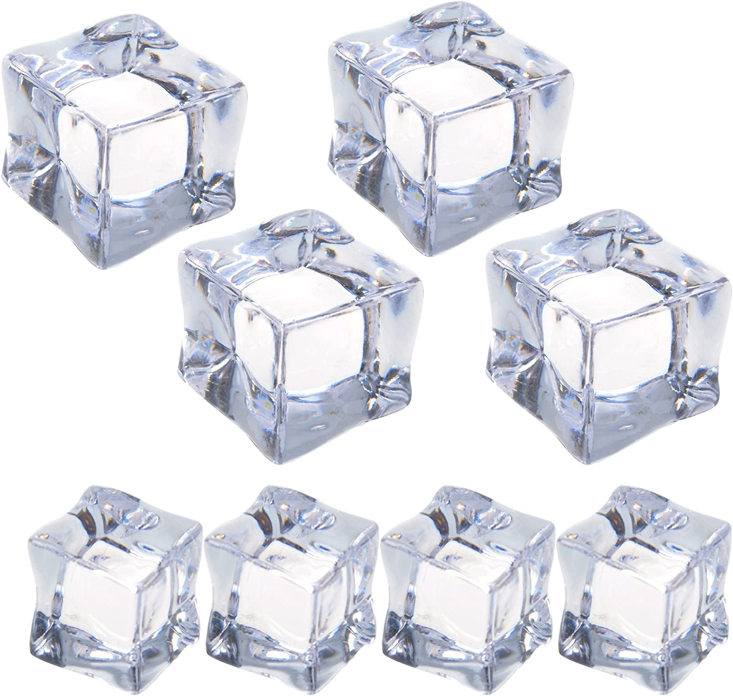Cosmos 8 Pcs Fake Clear Acrylic Plastic Ice Cubes Square Shape for Display & Photography