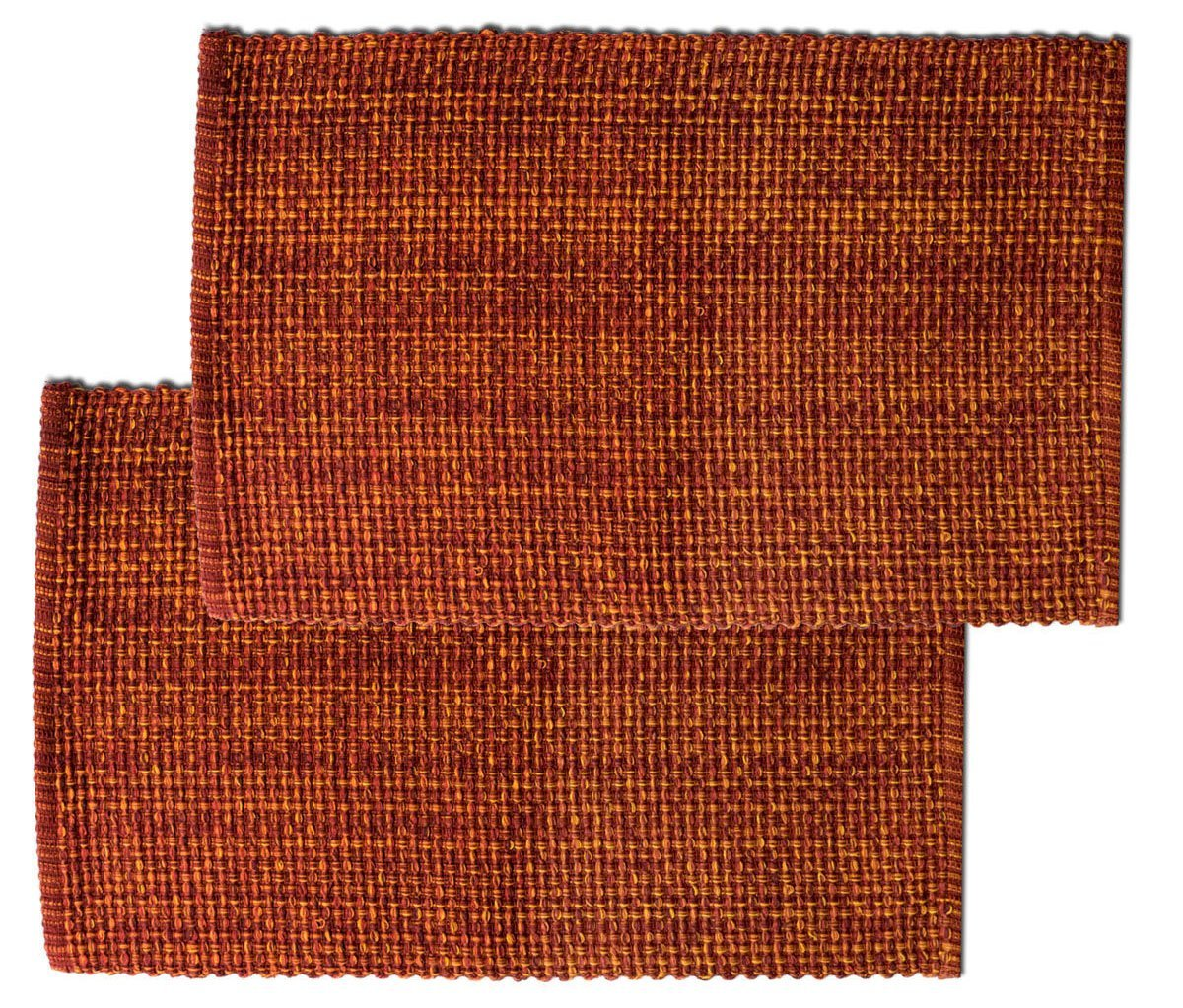 "Unique & Custom {13 x 19 Inch} Set Pack of 2 Rectangle ""Non-Slip Grip Texture"" Large Table Placemats Made of Washable Flexible 100% Cotton w/Woven Rust Tone Country Boho Design [Brown Color]"