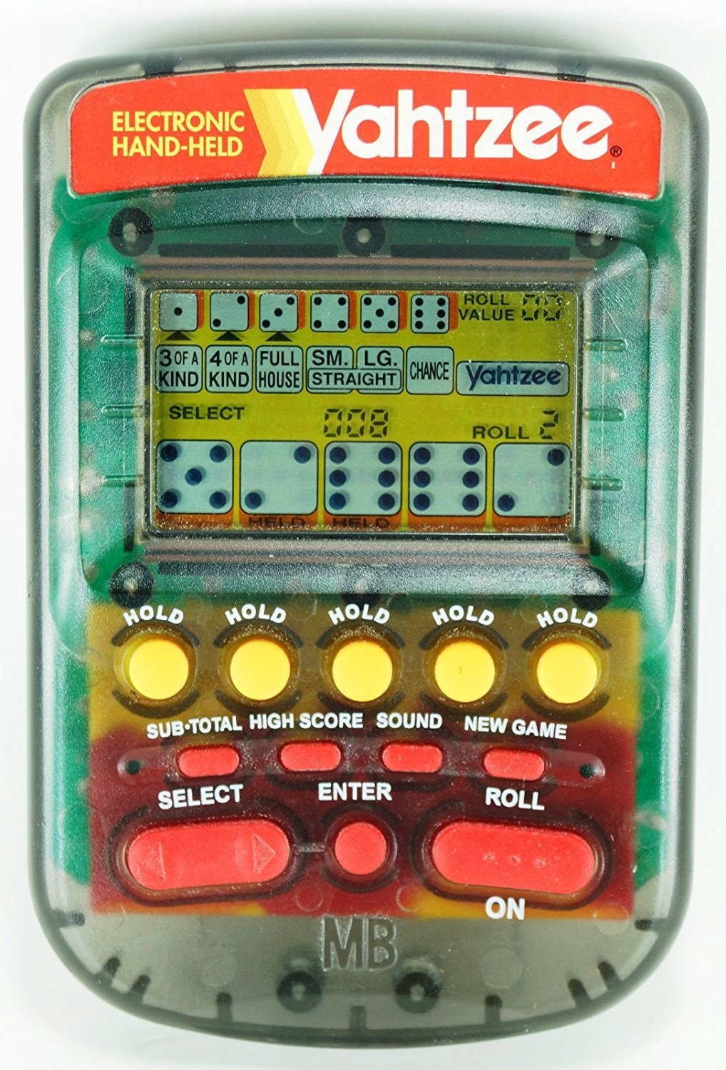 YAHTZEE Electronic Handheld Game (CLEAR SMOKE CASE/1995) by Milton Bradley