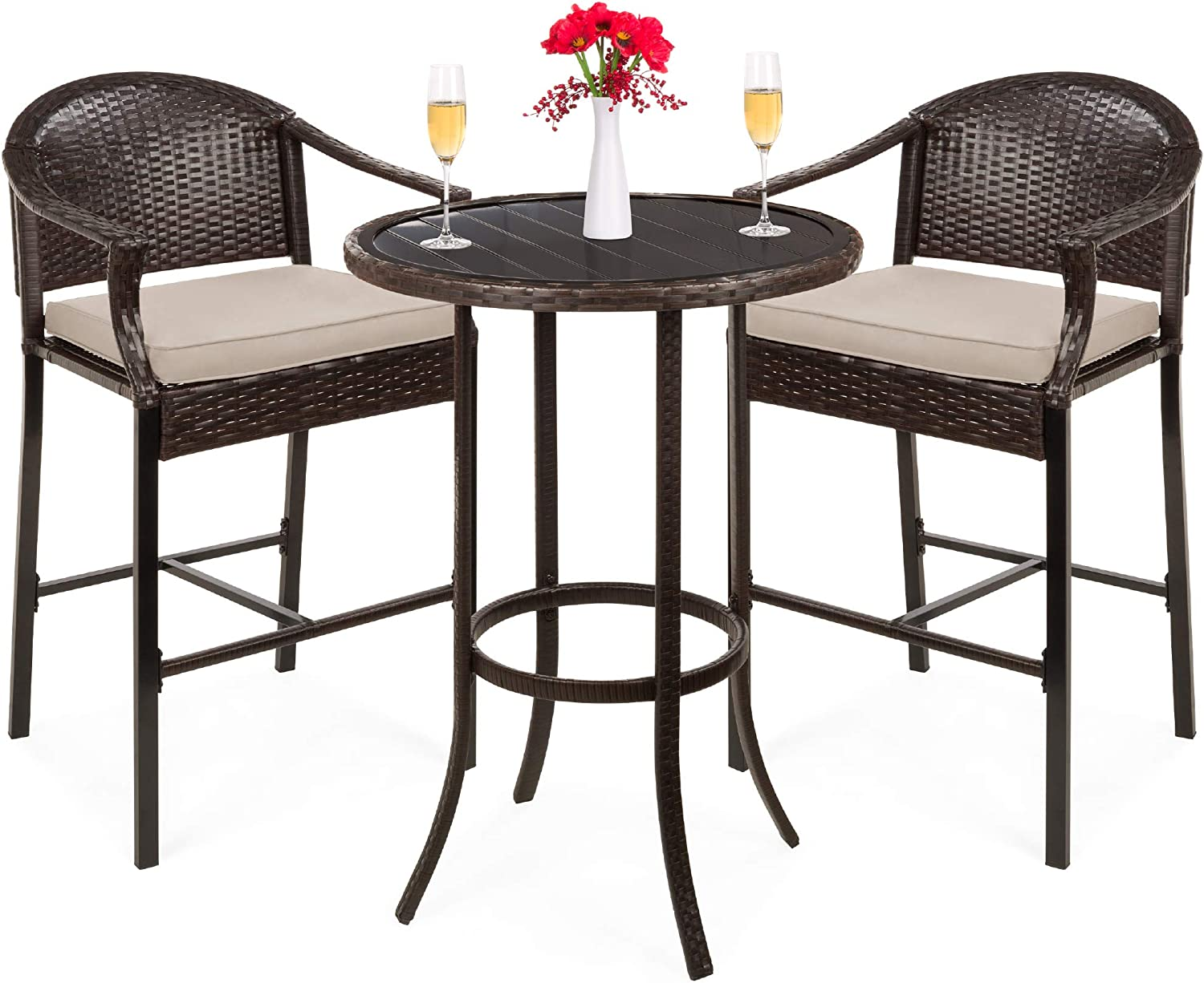 Amazon Com Best Choice Products 3 Piece Outdoor Wicker Bistro Bar Height Table Set For Patio Poolside Porch Deck Backyard Garden W Barstools Footrests Cushions Steel Frame Beige Garden Outdoor