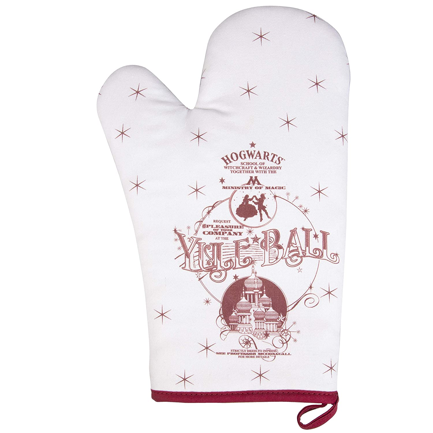 Harry Potter Oven Mitt - Gryffindor Yule Ball Holiday Design - Heat Resistant - 100% Cotton - Right Hand