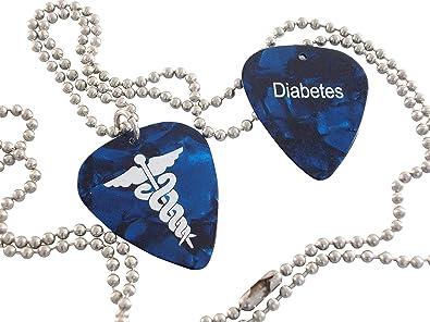 Amazon com: Diabetes Medical ID Alert Necklace Guitar Pick