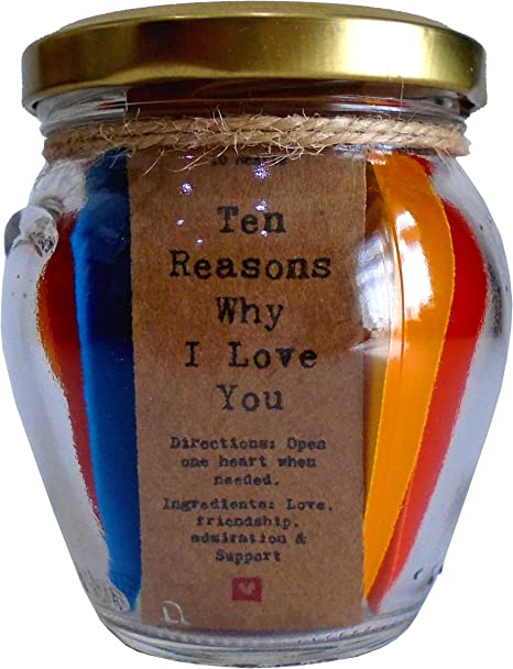 Amazon Com Little Jar Of Big Ideas Ten Reasons Why I Love You To The Person I Love Unique Present Artisan Handcrafted Gift Hearts Home Kitchen