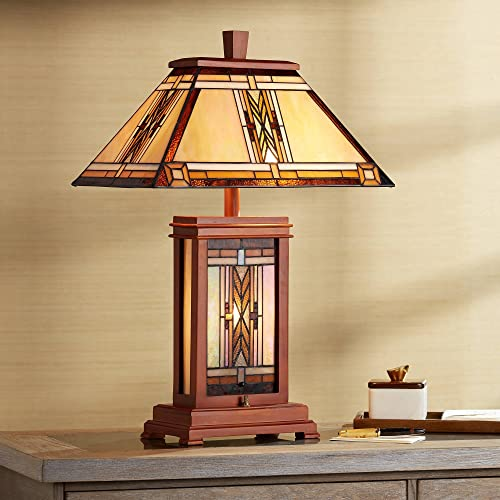 Walnut Mission Collection Rustic Table Lamp with Nightlight Wood Base Tiffany Style Antique Stained Art Glass Shade for Living Room Bedroom Bedside Nightstand Office Family – Robert Louis Tiffany