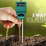 Tierra Tester Metro, Fosmon 3-en-1 pH Meter, Soil Sensor para humedad, Light, & pH Level Measurement para Growning Jardín, césped, granja, plantas, flores, vegetales, hierbas y más