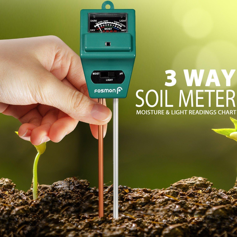Fosmon Soil Tester Meter, 3-in-1 pH Meter, Soil Sensor for Moisture, Light, pH Level Measurement for Growning Garden, Lawn, Farm, Plants, Flowers, Vegetable, Herbs & More