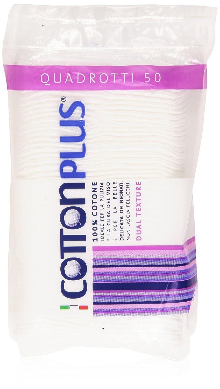 Cotton Plus - Quadrotti, 100% Cotone Idrofilo, dual Texture - 50 Quadrotti Turati Idrofilo