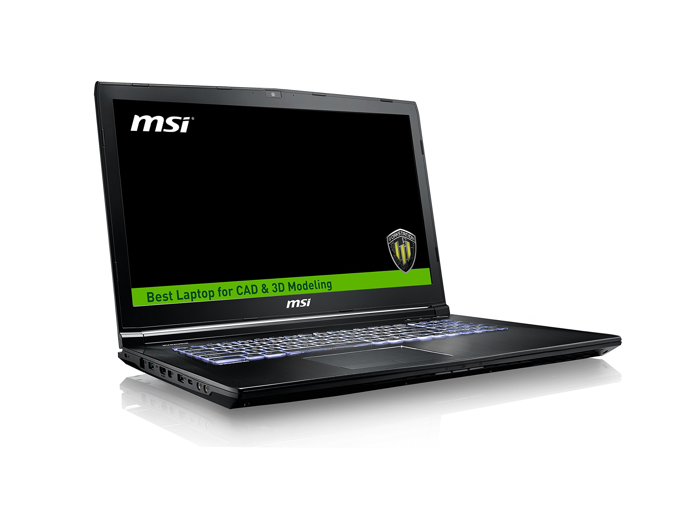 "MSI WE72 7RJ-1032US 17.3"" Professional Workstation Laptop Core i7-7700HQ Quadro M2200 32GB 512GB SSD, Aluminum Black"