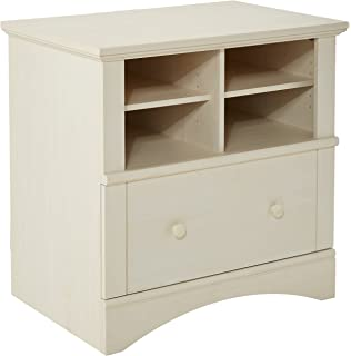 Amazon.com: Sauder Harbor View Storage Cabinet, Antiqued White ...