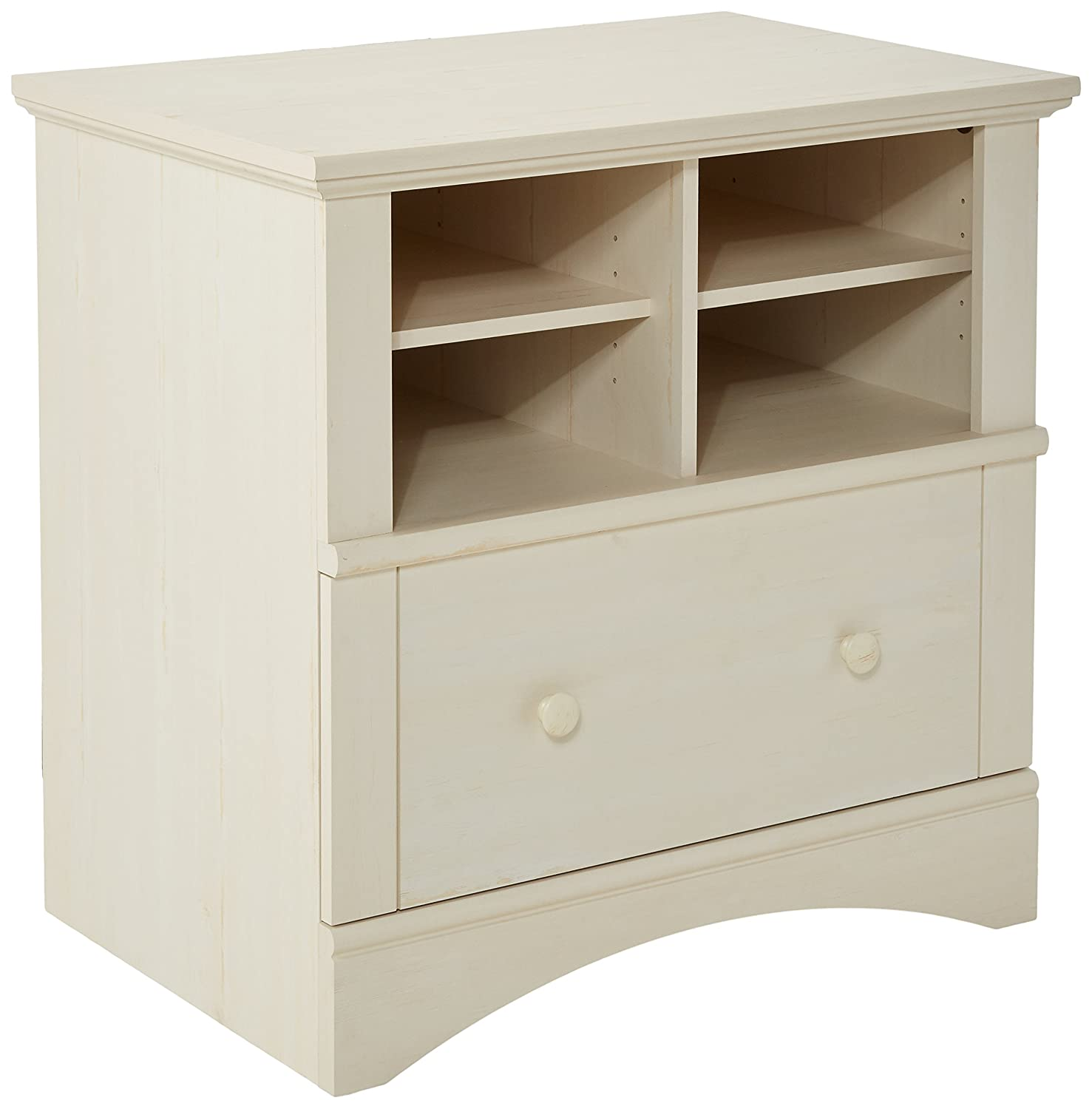 Sauder Harbor View Lateral File, Antiqued White 158002