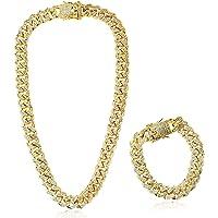 Collar Cadena 45cm + Pulsera 20cm con Diamante de Imitación Plateada Dorado Hip Hop Cubana para Hombre Mujer de Aleacion