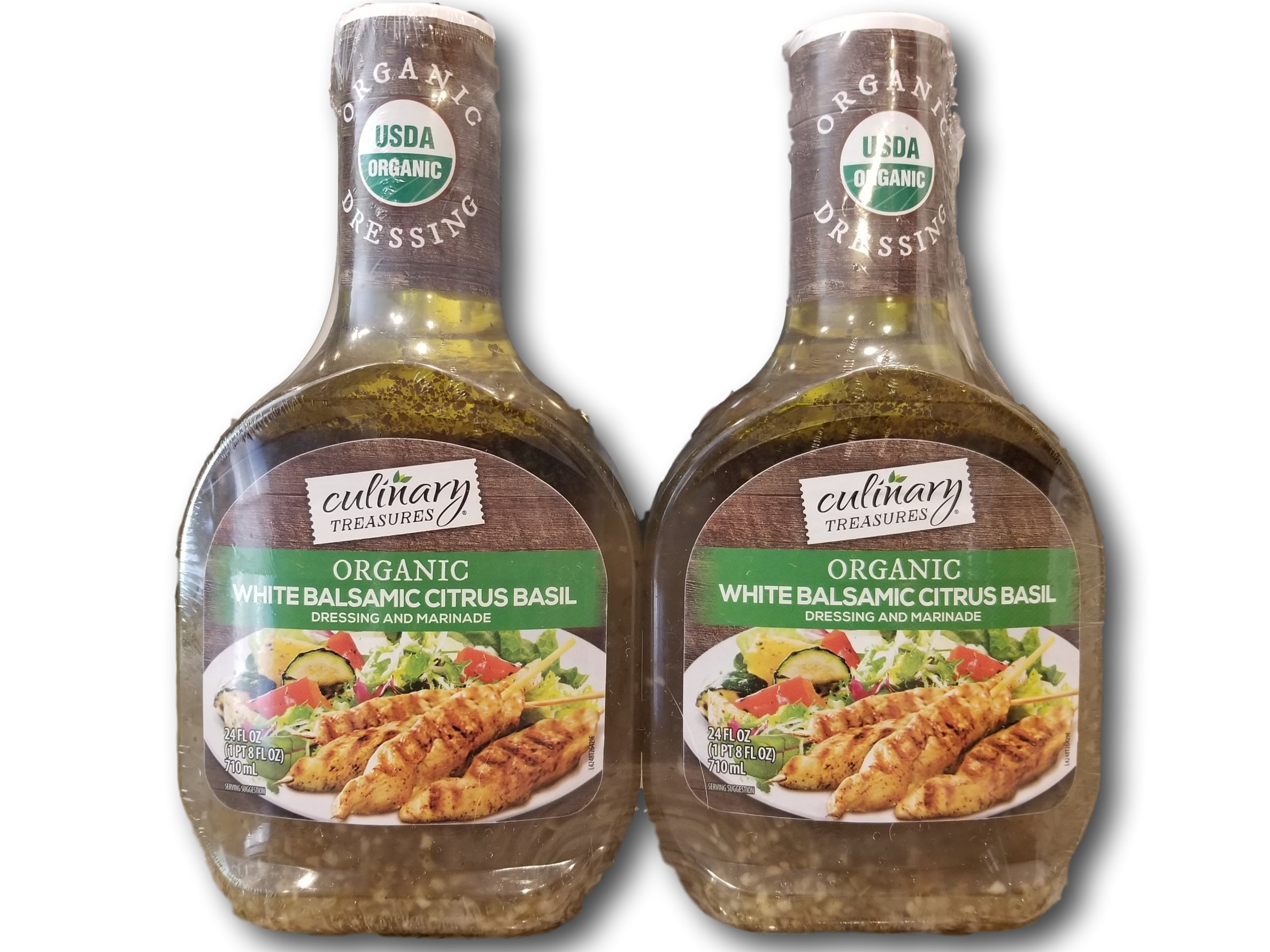 Culinary Treasures Organic White Balsamic Citrus Basil Dressing, 24 fl oz, Pack of 2 Bottles 1 Organic White Balsamic Citrus Basil Dressing Great for pasta salads A Delicious Marinade