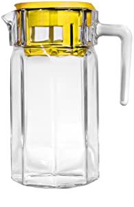 Circleware Lodge Glass Beverage Drink Pitcher with Yellow Plastic Lid, 50 oz., Clear (66753)