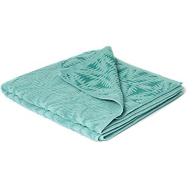 Pendleton Pecos Sculpted Large Quick Drying Antimicrobial Cotton Bath Towel, Aqua, One Size