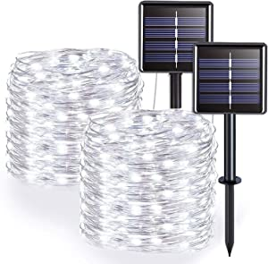 Solar String Lights Outdoor, 39ft 100-LED Solar Powered Fairy Lights with 8-Lighting Modes Waterproof Copper Wire Lights for Garden Patio Gate Yard Party Wedding Indoor Bedroom (2x100L)