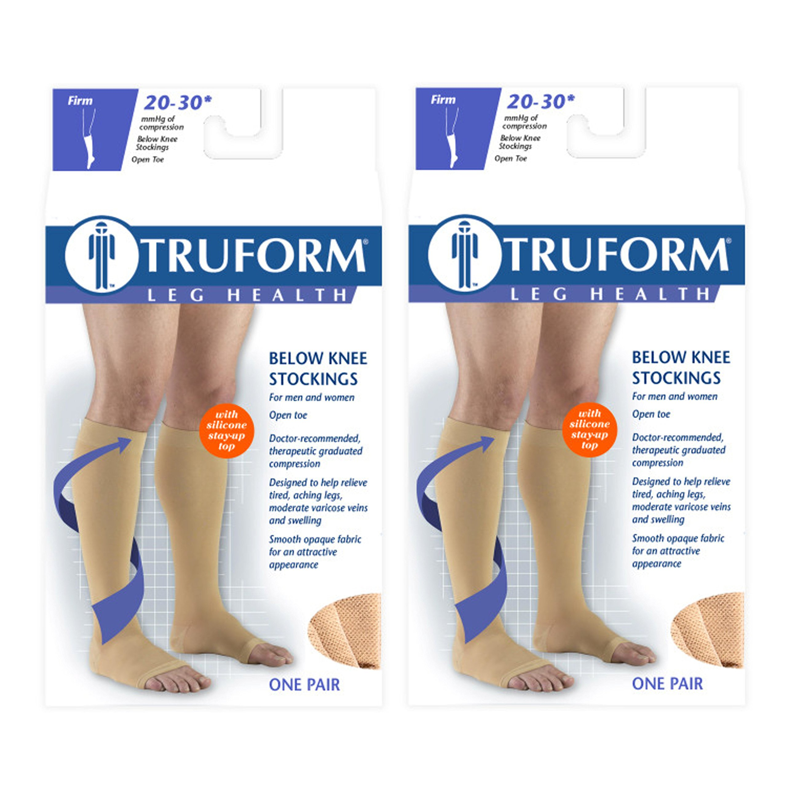 Truform Compression 20-30 mmHg Knee High Open Toe Dot Top Stockings Beige, Large, 2 Count