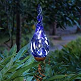 Exhart Solar Garden Stake Lights – Solar Glass Blue Twisted Flame Garden Stakes – Handblown Glass Finial Lights, LED Accent L