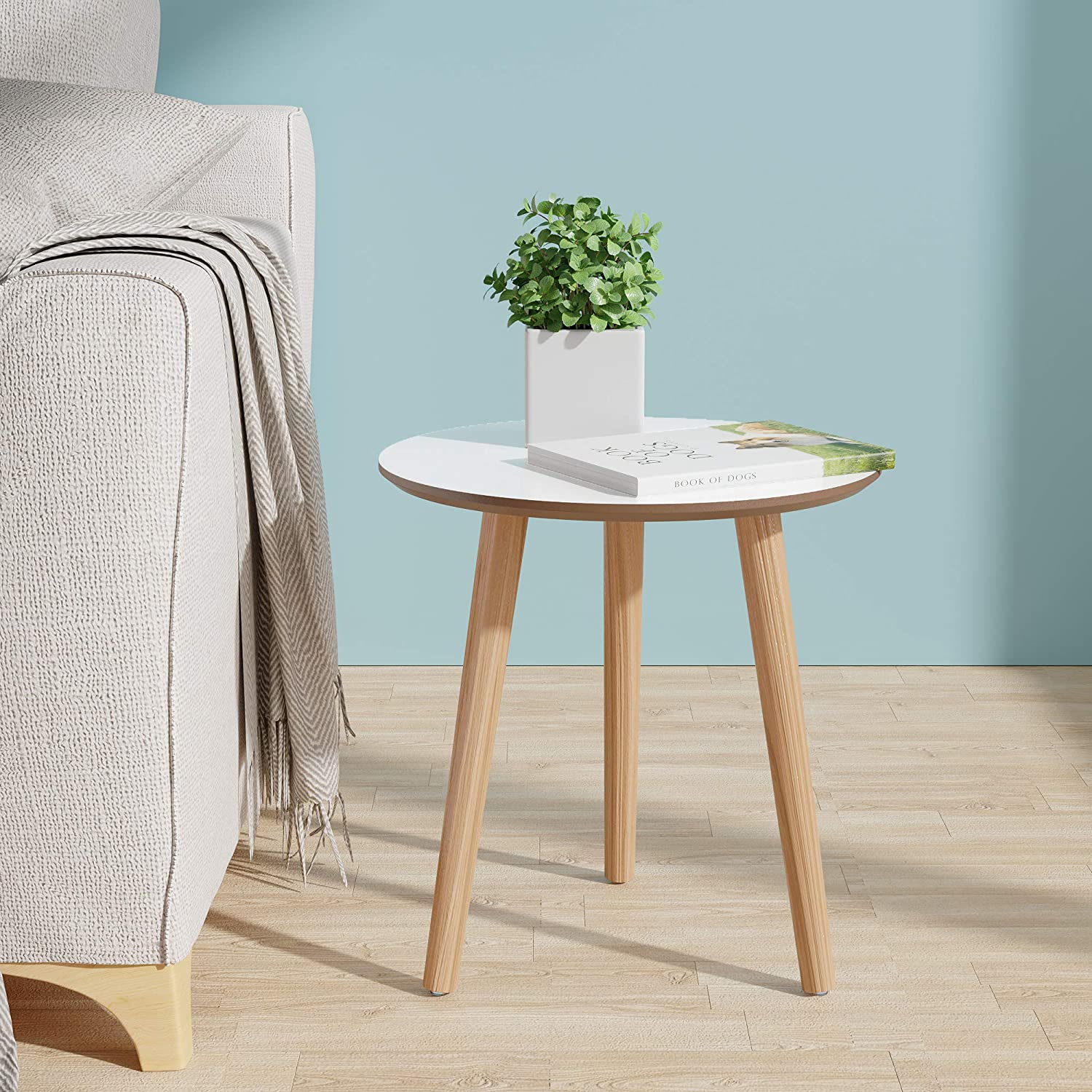 Jaxpety Round Side End Table Modern Small Coffee Table Log Desktop Nightstand For Living Room Bedroom Office Patio White Kitchen Dining