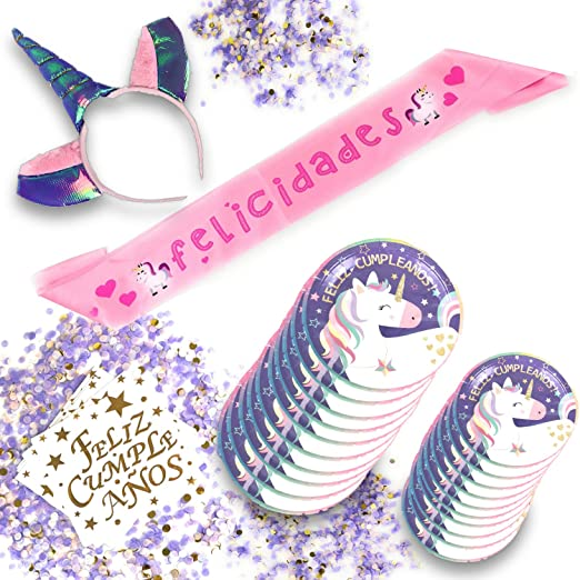 Set para fiestas de cumpleaños infantil niña de unicornio ...
