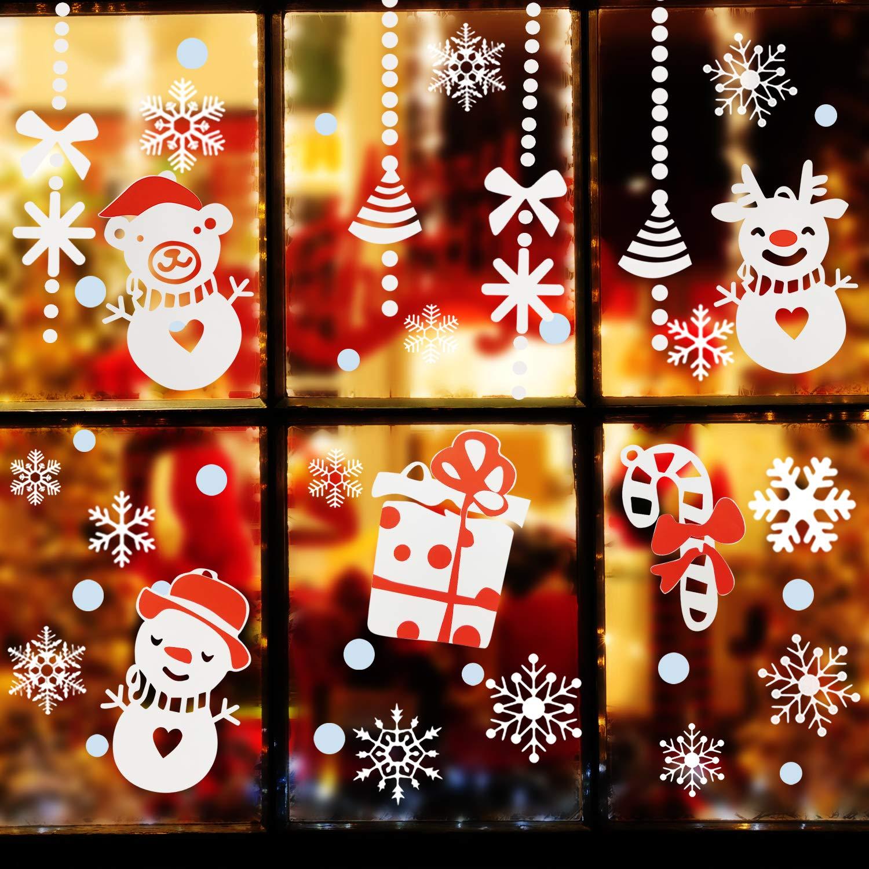 Magicfun Schneeflocken Fensterbild Abnehmbare Fensterdeko Statisch Haftende PVC Aufkleber Winter Dekoration