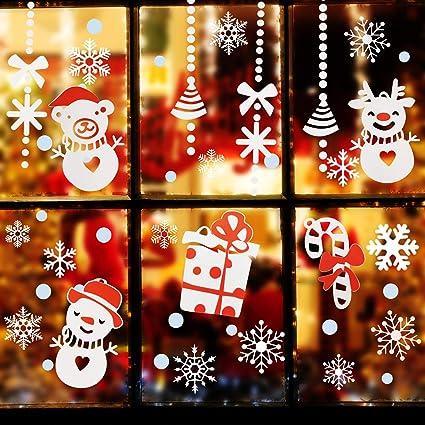 Adesivi Buon Natale.Natale Vetrofanie Rimovibile Adesivi Murali Da Parete Fai Da Te Finestra Decorazione Vetrina Sticker Fiocco Di Neve Albero Di Buon Natale Per Casa