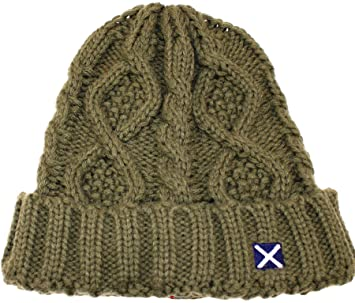 2b8b75920 Scottish Tweed Cap Co Saltire Logo Cable Knit Beanie Olive Green ...