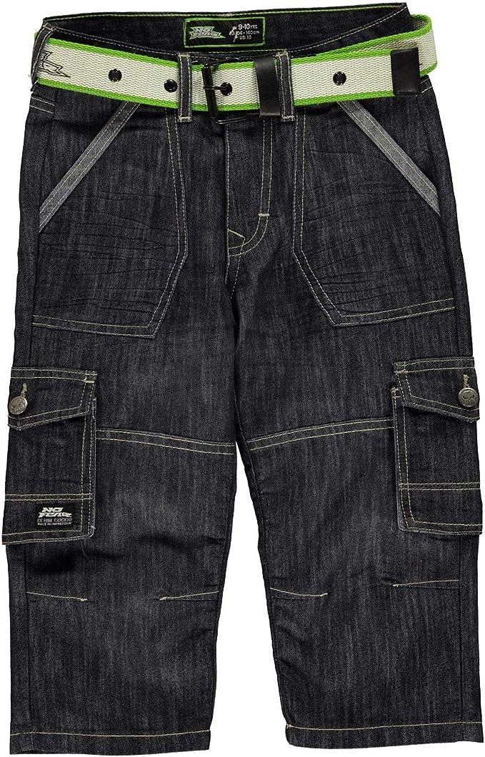 No Fear Enfants Belted Short Cargo Pantalon Pantalon Pantalon Denim Junior Boys Zip