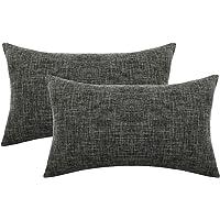 Lewondr Fine Linen Throw Pillow Case, Set of 2 Square Soft Woven Fine Solid Color Pillowcase Parent